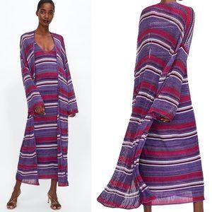 ZARA Knit Striped Long Cardigan Jacket Kimono